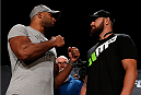 BOSTON, MA - AUGUST 15:  (L-R) Opponents Alistair Overeem and Travis Browne face off during a UFC press conference at the Wang Theatre on August 15, 2013 in Boston, Massachusetts. (Photo by Josh Hedges/Zuffa LLC/Zuffa LLC via Getty Images)