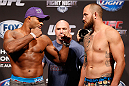 BOSTON, MA - AUGUST 16:  (L-R) Opponents Alistair Overeem and Travis Browne face off during the UFC weigh-in inside TD Garden on August 16, 2013 in Boston, Massachusetts. (Photo by Josh Hedges/Zuffa LLC/Zuffa LLC via Getty Images)