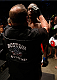 "BOSTON, MA - AUGUST 17:  A UFC cutman displays a ""Boston Strong"" logo on his vest as Ovince Saint Preux prepares to enter the Octagon before his UFC light heavyweight bout against Cody Donovan at TD Garden on August 17, 2013 in Boston, Massachusetts. (Photo by Josh Hedges/Zuffa LLC/Zuffa LLC via Getty Images)"