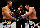 "BOSTON, MA - AUGUST 17:  (L-R) Opponents Mauricio ""Shogun"" Rua and Chael Sonnen face off before their UFC light heavyweight bout at TD Garden on August 17, 2013 in Boston, Massachusetts. (Photo by Josh Hedges/Zuffa LLC/Zuffa LLC via Getty Images)"