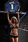 INDIANAPOLIS, IN - AUGUST 28:  UFC Octagon Girl Chrissy Blair introduces a round during the UFC on FOX Sports 1 event at Bankers Life Fieldhouse on August 28, 2013 in Indianapolis, Indiana. (Photo by Ed Mulholland/Zuffa LLC/Zuffa LLC via Getty Images)