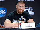 MILWAUKEE, WI - AUGUST 29:  Josh 'The Warmaster' Barnett interacts with media during a UFC press conference at the BMO Harris Bradley Center on August 29, 2013 in Milwaukee, Wisconsin. (Photo by Jeff Bottari/Zuffa LLC/Zuffa LLC via Getty Images)
