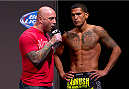 MILWAUKEE, WI - AUGUST 30:  Anthony Pettis (R) is interviewed by Joe Rogan (L) during the UFC 164 weigh-in inside the BMO Harris Bradley Center on August 30, 2013 in Milwaukee, Wisconsin. (Photo by Ed Mulholland/Zuffa LLC/Zuffa LLC via Getty Images) *** Local Caption *** Joe Rogan; Anthony Pettis