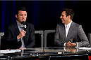 MILWAUKEE, WI - AUGUST 30:  Chael Sonnen (L) commentates with former UFC fighter Kenny Florian on the FOX Sports desk during the UFC weigh-in inside the BMO Harris Bradley Center on August 30, 2013 in Milwaukee, Wisconsin. (Photo by Jeff Bottari/Zuffa LLC/Zuffa LLC via Getty Images) *** Local Caption *** Chael Sonnen; Kenny Florian