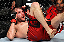 MILWAUKEE, WI - AUGUST 31:  Ryan Couture lies on the ground after being knocked to the floor by Al Iaquinta (not pictured) in their UFC lightweight bout at BMO Harris Bradley Center on August 31, 2013 in Milwaukee, Wisconsin. (Photo by Ed Mulholland/Zuffa LLC/Zuffa LLC via Getty Images) *** Local Caption *** Ryan Couture