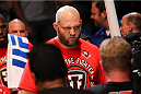 MILWAUKEE, WI - AUGUST 31:  Ben Rothwell enters the arena prior to his bout against Brandon Vera in their UFC heavyweight bout at BMO Harris Bradley Center on August 31, 2013 in Milwaukee, Wisconsin. (Photo by Ed Mulholland/Zuffa LLC/Zuffa LLC via Getty Images) *** Local Caption *** Ben Rothwell