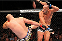MILWAUKEE, WI - AUGUST 31:  (L-R) Ben Rothwell kicks Brandon Vera below the belt in their UFC heavyweight bout at BMO Harris Bradley Center on August 31, 2013 in Milwaukee, Wisconsin. (Photo by Ed Mulholland/Zuffa LLC/Zuffa LLC via Getty Images) *** Local Caption *** Ben Rothwell; Brandon Vera