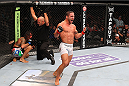 MILWAUKEE, WI - AUGUST 31:  (R-L) Chad Mendes celebrates after defeating Clay Guida in their UFC featherweight bout at BMO Harris Bradley Center on August 31, 2013 in Milwaukee, Wisconsin. (Photo by Ed Mulholland/Zuffa LLC/Zuffa LLC via Getty Images) *** Local Caption *** Chad Mendes; Clay Guida