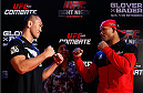 "BELO HORIZONTE, BRAZIL - SEPTEMBER 02:  (L-R) Opponents Yushin Okami and Ronaldo ""Jacare"" Souza face off after an open training session for media at the Ouro Minas Palace Hotel on September 2, 2013 in Belo Horizonte, Brazil. (Photo by Josh Hedges/Zuffa LLC/Zuffa LLC via Getty Images)"