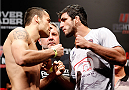BELO HORIZONTE, BRAZIL - SEPTEMBER 03:  (L-R) Opponents Joao Zeferino and Elias Silverio face off during the UFC weigh-in event at Mineirinho Arena on September 3, 2013 in Belo Horizonte, Brazil. (Photo by Josh Hedges/Zuffa LLC/Zuffa LLC via Getty Images)