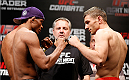 BELO HORIZONTE, BRAZIL - SEPTEMBER 03:  (L-R) Opponents Francisco Trinaldo and Piotr Hallmann face off during the UFC weigh-in event at Mineirinho Arena on September 3, 2013 in Belo Horizonte, Brazil. (Photo by Josh Hedges/Zuffa LLC/Zuffa LLC via Getty Images)