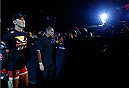 BELO HORIZONTE, BRAZIL - SEPTEMBER 04:  Yushin Okami enters the arena before his middleweight fight against Ronaldo