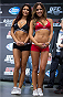 TORONTO, CANADA - SEPTEMBER 20:  (L-R) UFC Octagon Girls Arianny Celeste and Brittney Palmer stands on stage during the UFC 165 weigh-in event at Maple Leaf Square outside the Air Canada Centre on September 20, 2013 in Toronto, Ontario, Canada. (Photo by Josh Hedges/Zuffa LLC/Zuffa LLC via Getty Images)