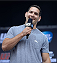 TORONTO, CANADA - SEPTEMBER 20:  UFC Middleweight Champion Chris Weidman interacts with fans during a Q&A session before the UFC 165 weigh-in at the Maple Leaf Square on September 20, 2013 in Toronto, Ontario, Canada. (Photo by Jeff Bottari/Zuffa LLC/Zuffa LLC via Getty Images)