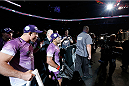 TORONTO, CANADA - SEPTEMBER 21:  Michel Prazeres walks out during his introduction before his fight against Jesse Ronson in their UFC lightweight bout at the Air Canada Center on September 21, 2013 in Toronto, Ontario, Canada. (Photo by Josh Hedges/Zuffa LLC/Zuffa LLC via Getty Images) *** Local Caption *** Michel Prazeres
