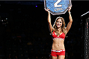TORONTO, CANADA - SEPTEMBER 21:  UFC Octagon Girl Brittney Palmer introduces a round between Jesse Ronson and Michel Prazeres (not pictured) in their UFC lightweight bout at the Air Canada Center on September 21, 2013 in Toronto, Ontario, Canada. (Photo by Josh Hedges/Zuffa LLC/Zuffa LLC via Getty Images) *** Local Caption *** Brittney Palmer