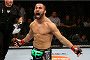 TORONTO, CANADA - SEPTEMBER 21:  John Makdessi celebrates after knocking out Renee Forte (not pictured) in their UFC lightweight bout at the Air Canada Center on September 21, 2013 in Toronto, Ontario, Canada. (Photo by Al Bello/Zuffa LLC/Zuffa LLC via Getty Images) *** Local Caption *** John Makdessi