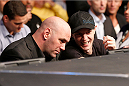 TORONTO, CANADA - SEPTEMBER 21:  (L-R) UFC President Dana White and DJ/music producer Joel Thomas 'Deadmau5' Zimmerman enjoy the atmosphere during the UFC lightweight bout between Pat Healy and Khabib Nurmagomedov at the Air Canada Center on September 21, 2013 in Toronto, Ontario, Canada. (Photo by Josh Hedges/Zuffa LLC/Zuffa LLC via Getty Images) *** Local Caption *** Joel Thomas Zimmerman