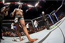 TORONTO, CANADA - SEPTEMBER 21:  Jon 'Bones' Jones warms up in the Octagon prior to his fight against Alexander Gustafsson (not pictured) in their UFC light heavyweight championship bout at the Air Canada Center on September 21, 2013 in Toronto, Ontario, Canada. (Photo by Al Bello/Zuffa LLC/Zuffa LLC via Getty Images) *** Local Caption *** Jon Jones