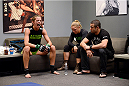 LAS VEGAS, NV - JUNE 17:  (L-R) Jessamyn Duke sits with Coach Ronda Rousey before her preliminary fight against Raquel Pennington (not pictured) during filming of season eighteen of The Ultimate Fighter on June 17, 2013 in Las Vegas, Nevada. (Photo by Jeff Bottari/Zuffa LLC/Zuffa LLC via Getty Images) *** Local Caption *** Jessamyn Duke; Ronda Rousey