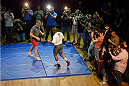 HOUSTON, TX - OCTOBER 16:  UFC Heavyweight Champion Cain Velasquez (L) and Daniel Cormier (R) hold an open training session inside House of Blues on October 16, 2013 in Houston, Texas. (Photo by Jeff Bottari/Zuffa LLC/Zuffa LLC via Getty Images) *** Local Caption *** Cain Velasquez; Daniel Cormier