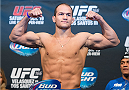 HOUSTON, TX - OCTOBER 18:  Junior Dos Santos weighs in during the UFC 166 weigh-in at the Toyota Center on October 18, 2013 in Houston, Texas. (Photo by Jeff Bottari/Zuffa LLC/Zuffa LLC via Getty Images) *** Local Caption *** Junior Dos Santos