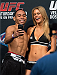 HOUSTON, TX - OCTOBER 18:  (L-R) John Dodson takes a picture with UFC Octagon Girl Chrissy Blair on stage during the UFC 166 weigh-in at the Toyota Center on October 18, 2013 in Houston, Texas. (Photo by Jeff Bottari/Zuffa LLC/Zuffa LLC via Getty Images) *** Local Caption ***  John Dodson; Chrissy Blair