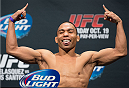 HOUSTON, TX - OCTOBER 18:  John Dodson weighs in during the UFC 166 weigh-in at the Toyota Center on October 18, 2013 in Houston, Texas. (Photo by Jeff Bottari/Zuffa LLC/Zuffa LLC via Getty Images) *** Local Caption *** John Dodson