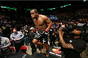 HOUSTON, TEXAS - OCTOBER 19:  Daniel Cormier enters the Octagon before facing Roy Nelson (not pictured) in their UFC heavyweight bout at the Toyota Center on October 19, 2013 in Houston, Texas. (Photo by Nick Laham/Zuffa LLC/Zuffa LLC via Getty Images)