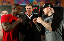 MANCHESTER, ENGLAND - OCTOBER 23:  (L-R) Opponents Melvin Guillard and Ross Pearson face off after the UFC open workouts inside Shooterâs Sports Bar on October 23, 2013 in Manchester, England. (Photo by Josh Hedges/Zuffa LLC/Zuffa LLC via Getty Images)
