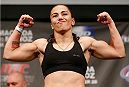 MANCHESTER, ENGLAND - OCTOBER 25:  Jessica Andrade weighs in during the UFC weigh-in event at Manchester Central on October 25, 2013 in Manchester, England. (Photo by Josh Hedges/Zuffa LLC/Zuffa LLC via Getty Images)