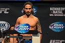 CLARKSVILLE, TN - NOVEMBER 5:  Dennis Bermudez weighs in during the UFC Fight For the Troops weigh-in at the Fort Campbell Sabre Air Field hanger on November 5, 2013 in Clarksville, Tennessee. (Photo by Ed Mulholland/Zuffa LLC/Zuffa LLC via Getty Images)