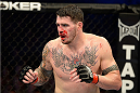 FORT CAMPBELL, KENTUCKY - NOVEMBER 6:  Chris Camozzi in action against Lorenz Larkin in their UFC middleweight bout on November 6, 2013 in Fort Campbell, Kentucky. (Photo by Jeff Bottari/Zuffa LLC/Zuffa LLC via Getty Images) *** Local Caption ***Chris Camozzi