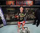 FORT CAMPBELL, KENTUCKY - NOVEMBER 6:  Liz Carmouche awaits the decision in her bout against Alexis Davis in their UFC women's bantamweight bout on November 6, 2013 in Fort Campbell, Kentucky. (Photo by Jeff Bottari/Zuffa LLC/Zuffa LLC via Getty Images) *** Local Caption ***Liz Carmouche