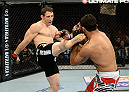FORT CAMPBELL, KENTUCKY - NOVEMBER 6:  (L-R) Tim Kennedy kicks Rafael Natal in their UFC middleweight bout on November 6, 2013 in Fort Campbell, Kentucky. (Photo by Jeff Bottari/Zuffa LLC/Zuffa LLC via Getty Images) *** Local Caption ***Tim Kennedy; Rafael Natal
