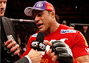GOIANIA, BRAZIL - NOVEMBER 09: Vitor Belfort is interviewed after knocking out Dan Henderson in their light heavyweight bout during the UFC event at Arena Goiania on November 9, 2013 in Goiania, Brazil. (Photo by Josh Hedges/Zuffa LLC/Zuffa LLC via Getty Images)
