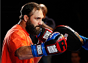 LAS VEGAS, NV - NOVEMBER 13: Johny Hendricks holds an open workout session for media inside the Hollywood Theatre at the MGM Grand Hotel/Casino on November 13, 2013 in Las Vegas, Nevada. (Photo by Josh Hedges/Zuffa LLC/Zuffa LLC via Getty Images)