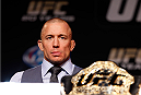 LAS VEGAS, NV - NOVEMBER 14: UFC welterweight champion Georges St-Pierre interacts with media during the final UFC 167 pre-fight press conference inside the Hollywood Theatre at the MGM Grand Hotel/Casino on November 14, 2013 in Las Vegas, Nevada. (Photo by Josh Hedges/Zuffa LLC/Zuffa LLC via Getty Images)