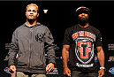 LAS VEGAS, NV - NOVEMBER 14: (L-R) Opponents Josh Koscheck and Tyron Woodley pose for photos during the final UFC 167 pre-fight press conference inside the Hollywood Theatre at the MGM Grand Hotel/Casino on November 14, 2013 in Las Vegas, Nevada. (Photo by Josh Hedges/Zuffa LLC/Zuffa LLC via Getty Images)
