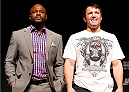 LAS VEGAS, NV - NOVEMBER 14: (L-R) Opponents Rashad Evans and Chael Sonnen pose for photos during the final UFC 167 pre-fight press conference inside the Hollywood Theatre at the MGM Grand Hotel/Casino on November 14, 2013 in Las Vegas, Nevada. (Photo by Josh Hedges/Zuffa LLC/Zuffa LLC via Getty Images)