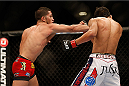 LAS VEGAS, NV - NOVEMBER 16:  (L-R) Sergio Pettis punches Will Campuzano in their bantamweight bout during the UFC 167 event inside the MGM Grand Garden Arena on November 16, 2013 in Las Vegas, Nevada. (Photo by Josh Hedges/Zuffa LLC/Zuffa LLC via Getty Images) *** Local Caption *** Will Campuzano; Sergio Pettis