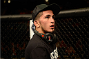 LAS VEGAS, NV - NOVEMBER 16:  Sergio Pettis awaits the decision after his bantamweight bout during the UFC 167 event inside the MGM Grand Garden Arena on November 16, 2013 in Las Vegas, Nevada. (Photo by Donald Miralle/Zuffa LLC/Zuffa LLC via Getty Images) *** Local Caption *** Sergio Pettis