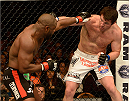 LAS VEGAS, NV - NOVEMBER 16:  (R-L) Chael Sonnen punches Rashad Evans in their light heavyweight bout during the UFC 167 event inside the MGM Grand Garden Arena on November 16, 2013 in Las Vegas, Nevada. (Photo by Donald Miralle/Zuffa LLC/Zuffa LLC via Getty Images) *** Local Caption *** Rashad Evans; Chael Sonnen