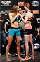 LAS VEGAS, NV - NOVEMBER 29:  (L-R) Opponents Jessamyn Duke and Peggy Morgan face off during the weigh-in for The Ultimate Fighter season 18 live finale inside the Mandalay Bay Events Center on November 29, 2013 in Las Vegas, Nevada. (Photo by Josh Hedges/Zuffa LLC/Zuffa LLC via Getty Images)