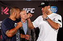 "BRISBANE, AUSTRALIA - DECEMBER 05:  (L-R) Opponents Mark Hunt and Antonio ""Bigfoot"" Silva face off during the UFC Ultimate Media Day at the Brisbane Marriott Hotel on December 5, 2013 in Brisbane, Australia. (Photo by Josh Hedges/Zuffa LLC/Zuffa LLC via Getty Images)"