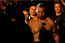 "BRISBANE, AUSTRALIA - DECEMBER 07:  Mark Hunt enters the arena before his heavyweight fight against Antonio ""Bigfoot"" Silva during the UFC Fight Night event at the Brisbane Entertainment Centre on December 7, 2013 in Brisbane, Australia. (Photo by Josh Hedges/Zuffa LLC/Zuffa LLC via Getty Images)"