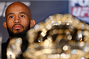 SACRAMENTO, CA - DECEMBER 12:  UFC flyweight champion Demetrious Johnson interacts with media during the final pre-fight press conference before the UFC on FOX event at Sleep Train Arena on December 12, 2013 in Sacramento, California. (Photo by Josh Hedges/Zuffa LLC/Zuffa LLC via Getty Images)