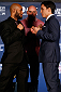 SACRAMENTO, CA - DECEMBER 12:  (L-R) Opponents Demetrious Johnson and Joseph Benavidez face off during the final pre-fight press conference before the UFC on FOX event at Sleep Train Arena on December 12, 2013 in Sacramento, California. (Photo by Josh Hedges/Zuffa LLC/Zuffa LLC via Getty Images)