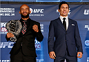 SACRAMENTO, CA - DECEMBER 12:  (L-R) Opponents Demetrious Johnson and Joseph Benavidez pose for photos during the final pre-fight press conference before the UFC on FOX event at Sleep Train Arena on December 12, 2013 in Sacramento, California. (Photo by Josh Hedges/Zuffa LLC/Zuffa LLC via Getty Images)