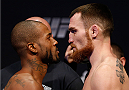 SACRAMENTO, CA - DECEMBER 13:  (L-R) Opponents Bobby Green and Pat Healy face off during the UFC on FOX weigh-in at Sleep Train Arena on December 13, 2013 in Sacramento, California. (Photo by Josh Hedges/Zuffa LLC/Zuffa LLC via Getty Images)